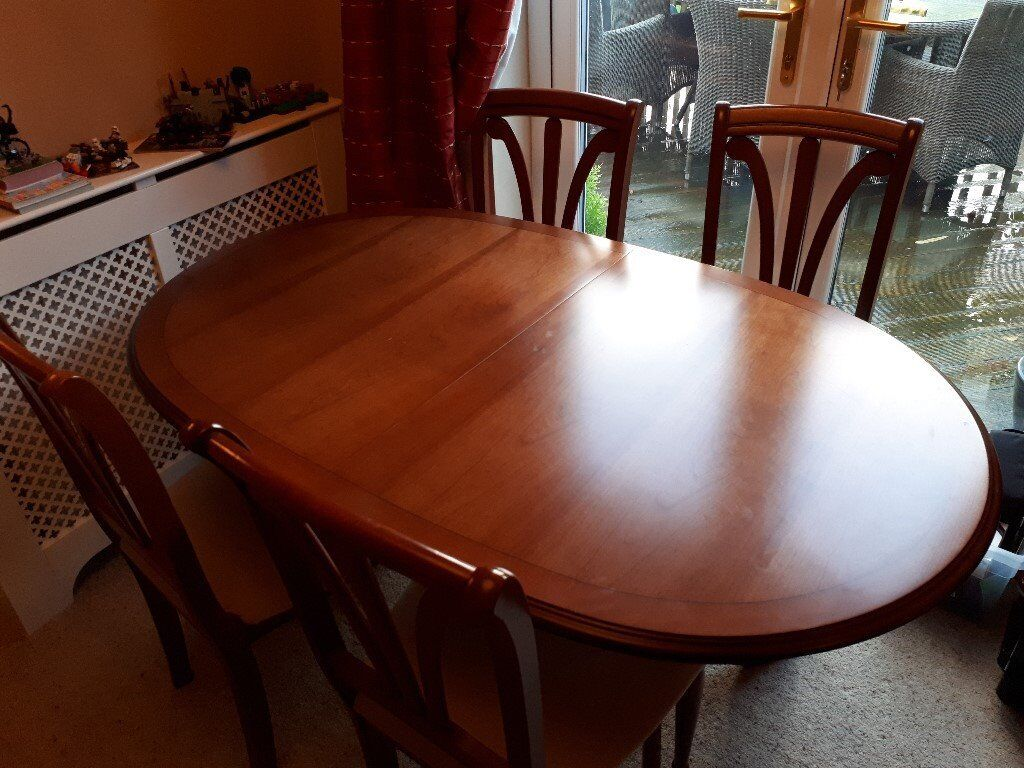 Dining Room Table Extendable 6 Chairs And Matching Display Cabinet With Cupboards