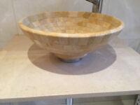 Stone basin with soapstone shelf