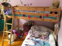 Metal frame single bed with floral design- great condition