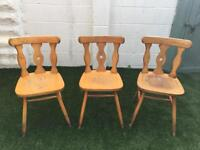 Three wood dining chairs oak style