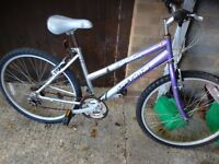 """Ladies mountain bike with 26"""" wheels with good tyres 18 gears with side stand gwo"""