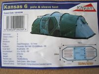 6 person Tent (Khyam Kansas 6), 3 sleeping compartments (3,2,1 accommodation)