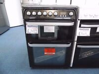 NEW GRADED BLACK 60 WIDE HOTPOINT FREESTANDING COOKER REF: 31068
