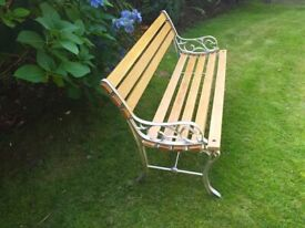 retro garden bench in oak and cast iron