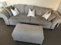 4 seater sofa and footstool - 1 year old!