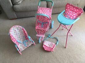 Dolls Highchair, pushchair bouncer & changing bag