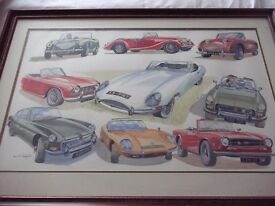 Classic car watercolour by International artist David Hopper MG TVR JAGUAR MARCOS TRIUMPH MORGAN