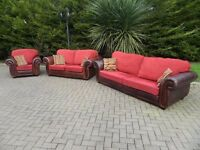 Large Roll-Arm 3+2+1 (Leather & Fabric) Suite