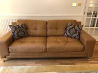 DFS Domain Camel Brown leather 3 seater Sofa - Very Little Use