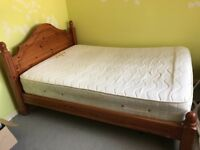 ***Pine double bed including mattress***