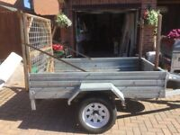 Unbraked Fully Galvanised 6ft x 4ft Trailer with ramp and ladder rack. Excellent condition