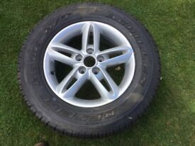 Ssangyong twin spoke alloy wheel with new tyre never used