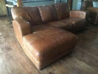 3 Seater Chaise Tan Sofa