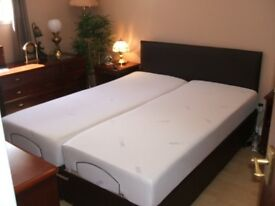King Size Adjustable Dual Bed with Memory Foam Mattresses and Headboard