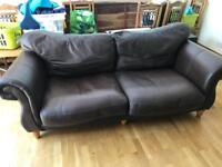 2 x 3 seater brown leather sofas (stylish design)