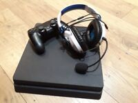 PS4 Slim 500GB with controller and turtlebeach headset(USED ONCE). In good condition.