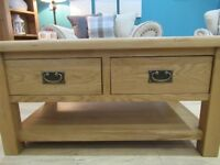 Elegant 2 Drawer Coffee Table. Constructed from solid oak, veneers and pine Sideboard.