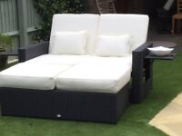 Garden Daybed- Black Rattan Folds for storage including cushions
