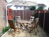 PATIO TABLE AND CHAIRS [hard wood] +PARISOL