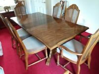 Dining table, chairs, mats, sideboard and cabinet