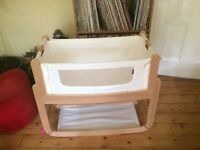 SnuzPod 3 in 1 Crib (Natural Wood) Great condition with Organic Mattress and other extras