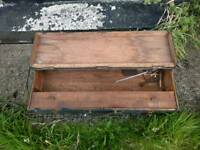 Large vintage wooden carpentry tool box
