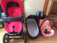 iCandy travel system - baby car seat + pram + buggy + accessories