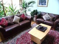 Brown Leather Sofa 3 + 2 seater. The sofa sizes are 2.15m x 0.90m & 1.8m x 0.9m