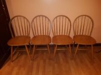 ***Sold***4 x Wooden Dining Chairs (Kitchen). Sturdy and in Good Condition! Quick Sale.