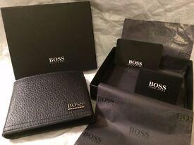 "NEW HUGO BOSS ""MANPRIO"" BLACK SOFT GRAINED BI-FOLD WALLET IN BLACK PRESENTATION BOX"