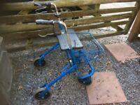 DMA quality 4 wheeled fold up walker with seat & shopping bascket swivel wheels brakes etc