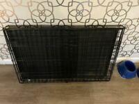 """Large Dog Cage 37"""" Black Tray Folding Puppy Crate Cat Carrier Dog Crate"""