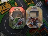 2 pokemons tins with 350 cards