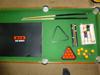 Free standing BCE 5 foot x 2 foot 6 inch snooker pool table plus all accessories