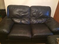 Three seater and two seater leather sofas