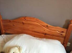 Pine double bed with mattress if required