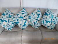 4 x M&S Teal/Natural large cushions - VGC - must go!