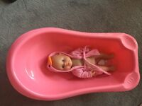 Girls baby toy doll and toy bath
