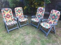 4 high back garden recliner chairs with cushions