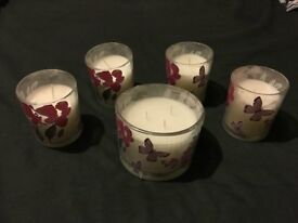 Candles with purple butterfly/flower design (22 small & 5 large)