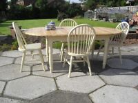 Shabby Chic Solid Pine Oval Extending Table and 4 Arched Back Chairs In Farrow & Ball Cream No 67