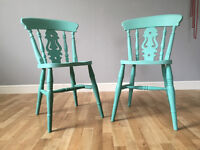 A pair of Shabby Chic Dining Cairs in Annie Sloan Chalk Paint