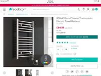 Brand new 800mm x 450mm straight chrome towel radiator