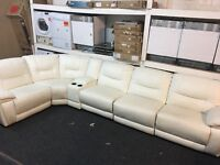 New / Ex Display LazyBoy Recliner Corner Sofa + Media Try Cream/White (left or right side)