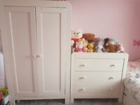 White 3 Piece Mamas & Papas Vico Nursery Set - includes cot bed, wardrobe and drawers