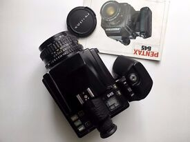 Excellent Pentax 645 medium format camera, 75mm f2.8 lens, 120 film insert, manual