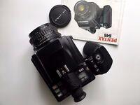 Excellent Pentax 645 medium format camera, 75mm f2.8 lens, 120 film insert, manual