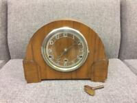 Antique vintage Wood cased Mantle chiming Clock display shop retro windup SDHC