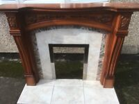 CHERRY WOOD FIREPLACE SURROUND AND HEARTH