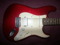 Fender Squier Stratocaster Electric Guitar HSS / Candy Apple Red.